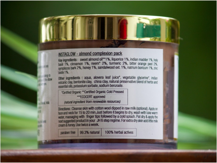 Just Herbs Instaglow Almond Complexion Face Pack Review Info