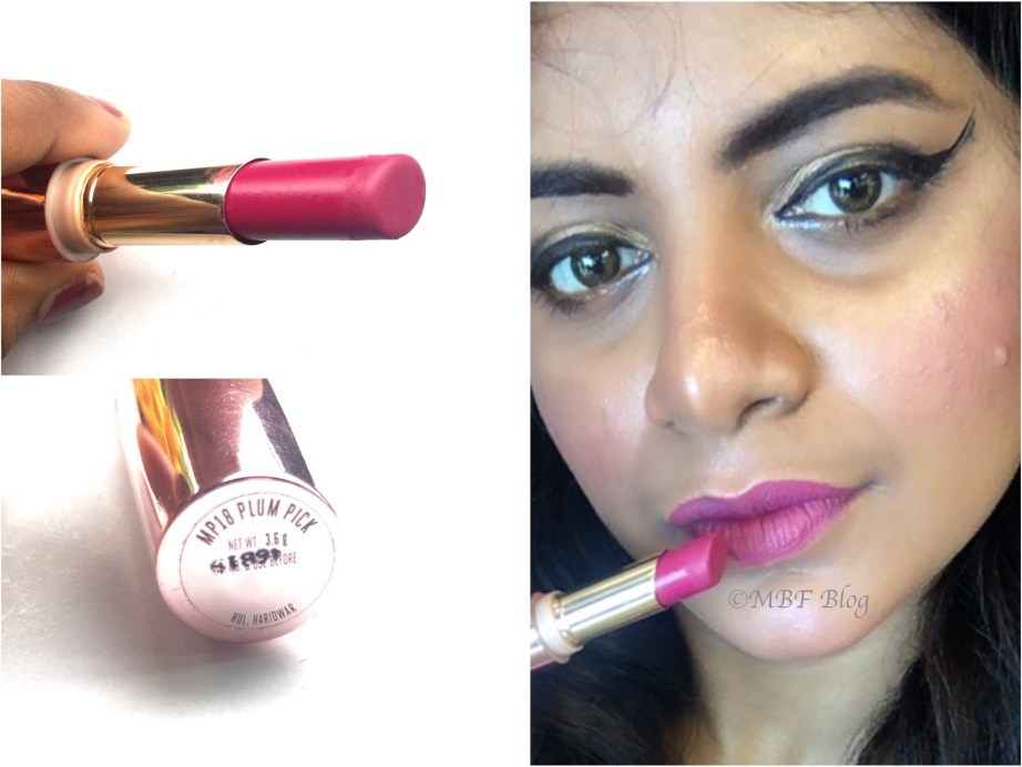 Lakme 9 to 5 Primer + Matte Lip Color MP18 Plum Pick Review, Swatches MBF Makeup Look