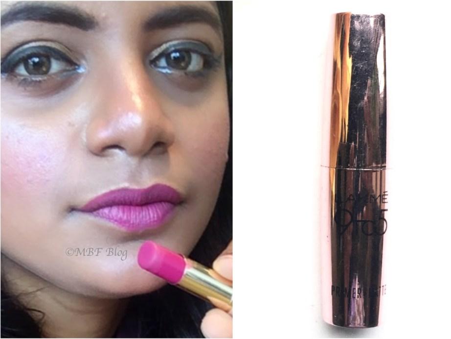 Lakme 9 to 5 Primer + Matte Lip Color MP18 Plum Pick Review, Swatches MBF Makeup