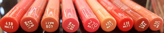 All BeYu Color Biggie MATT Lips and More Lipsticks 9 Shades Review, Swatches L to R