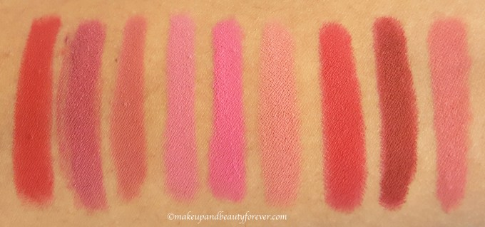 All BeYu Color Biggie MATT Lips and More Lipsticks 9 Shades Swatches 418 manhattan chic, 279 cozy mauve, 408 rosy nude, 266 orchid dream, 270 cheeky pink