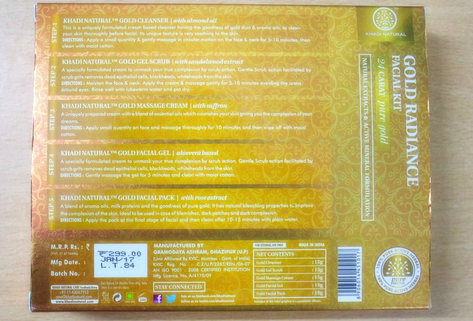 Khadi Gold Radiance Facial Kit Details
