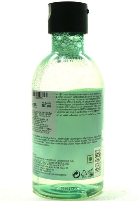 The Body Shop Fuji Green Tea Shower Gel Review back