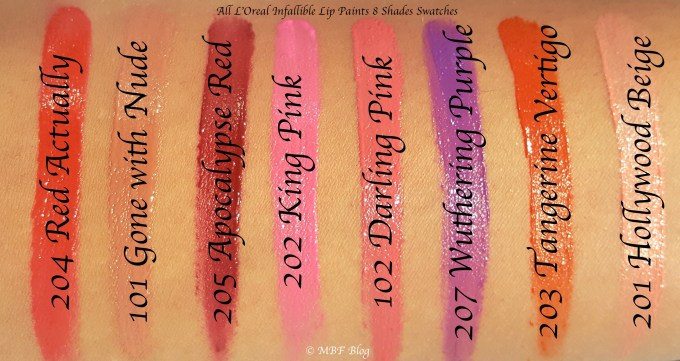All L'Oreal Infallible Lip Paints 8 Shades Review, Swatches Red Actually Apocalypse Red King Pink Darling Pink Wuthering Purple Tangerine Orange Hollywood Beige