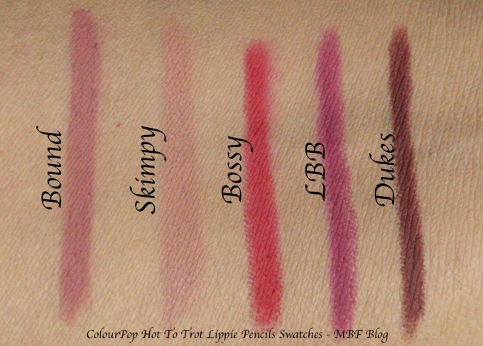 ColourPop Hot To Trot Lippie To Go Kit Review, Swatches of Pencils - Bound, Skimpy, Bossy, LBB, Dukes