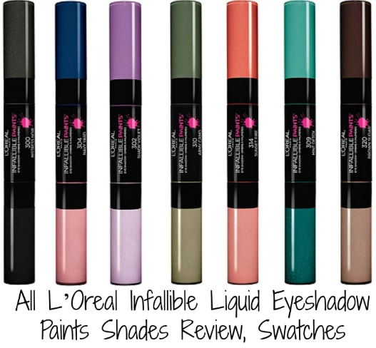 All L'Oreal Infallible Liquid Eyeshadow Paints Shades Review, Swatches