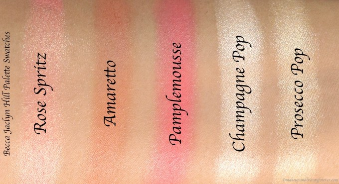 Becca Jaclyn Hill Champagne Collection Face Palette Review, Swatches Rose Spritz Amaretto Pamplemousse Champagne Pop Prosecco Pop