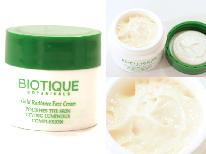 Biotique Gold Radiance Facial Kit with Gold Bhasma Review, Swatches Face Cream