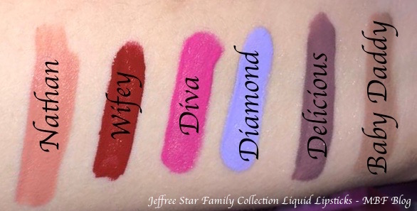 Jeffree Star Family Collection All Velour Liquid Lipsticks Swatches Nathan Wifey Diva Diamond Delicious Baby Daddy