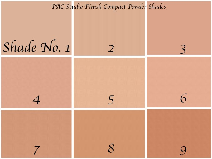 PAC Studio Finish Compact Powder Review, Shade Guide