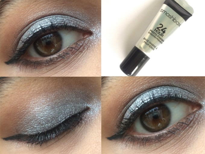 Smashbox 24 Hour Photo Finish Shadow Primer Review, Swatches, Demo MBF Blog Silver Eye makeup Look