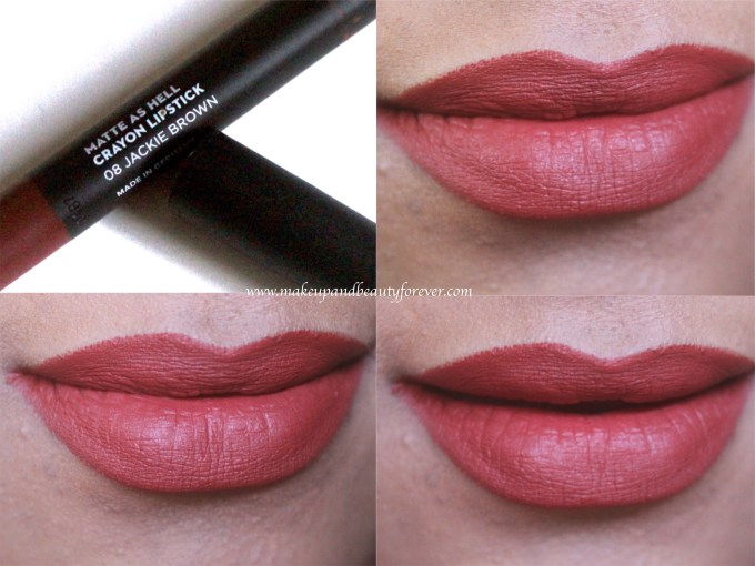 Sugar Jackie Brown 08 Matte As Hell Crayon Lipstick Review, Swatches on Lips MBF Blog
