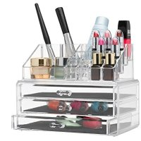 Home-it Clear acrylic Jewelry organizer and makeup organizer cosmetic organizer and Large 3 Drawer Jewelry Chest or makeup storage ideas Case Lipstick Liner Brush Holder make up boxes