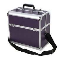 Songmics Aluminum Beauty Makeup Train Case Lockable Cosmetic Box Purple Jewelry Storage Organizer UJBC229