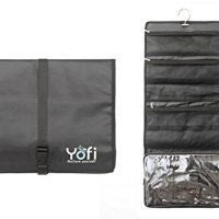 Hanging Toiletry Bag by Yofi Nurture Yourself: Organizer for Cosmetics, Makeup, Jewelry, Toiletries, Shaving Tools in Black Expandable, Polyester Case with Zippers and Sections for Home or Traveling