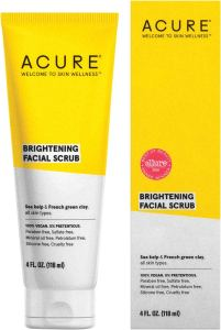 Acure Brightening Facial Scrub before applying foundation perfectly