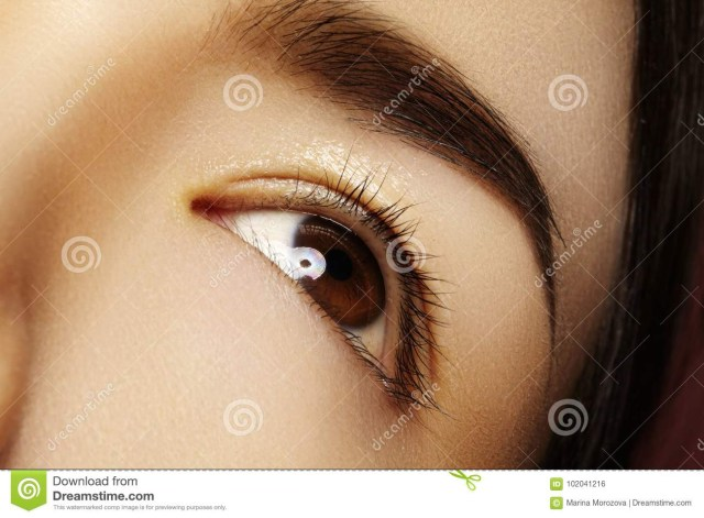 Asian Eyes Makeup Close Up Asian Eye With Clean Makeup Perfect Shape Eyebrows