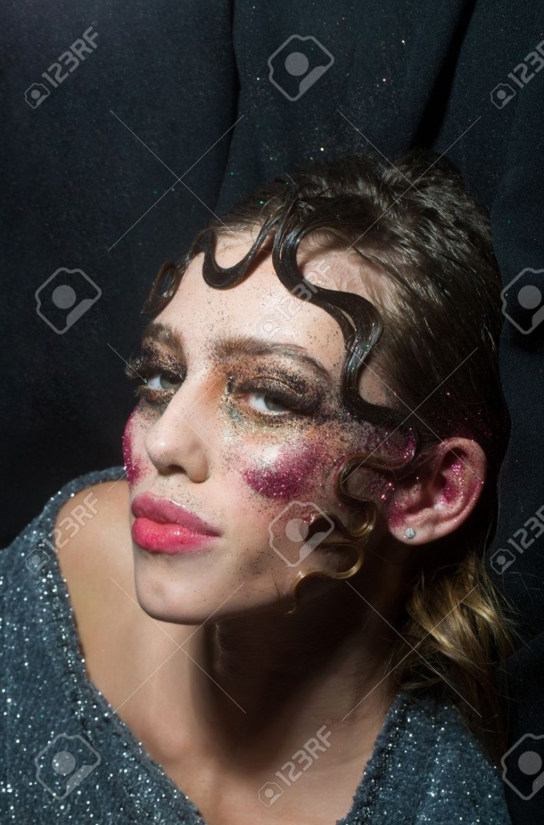 Ball Eye Makeup Pretty Girl Or Sexy Woman With Holiday Glitter Makeup Sparkling