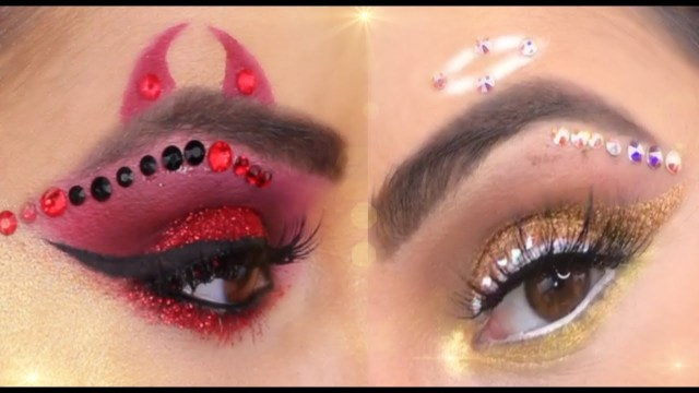 Devil Costume Eye Makeup Halloween Angel Or Devil Makeup Tutorial Youtube
