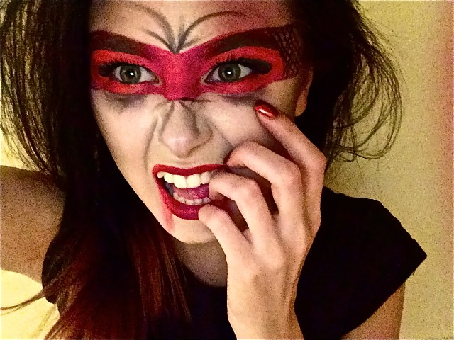 Devil Costume Eye Makeup Heres My Red Devil Masked Vombie Makeup Mashup Happy Halloween
