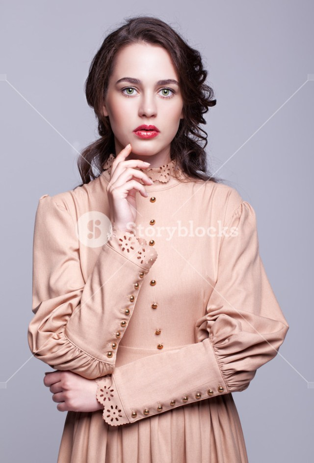 Eye Makeup For Beige Dress Portrait Of Young Beautiful Woman In Retro Beige Dress With Day