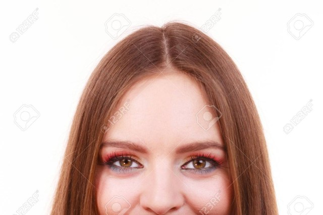 Eye Makeup Summer Woman Face Colorful Bright Eye Makeup Summer Time Stock Photo