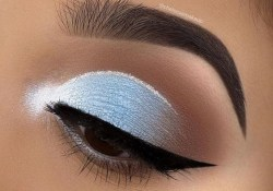 Light Blue Eye Makeup Matte Light Blue Eye Makeup With White Details Pins For Ladies