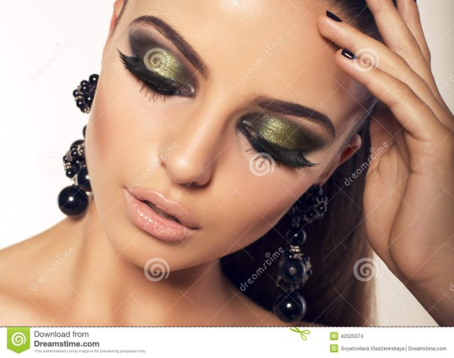 Makeup Smokey Eyes Portrait Of Beautiful Brunette With Smokey Eyes Makeup Stock Photo