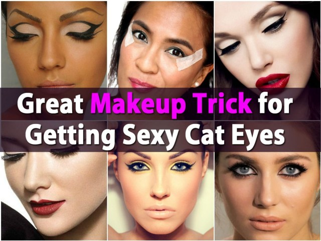 Makeup Tape Eyes Great Makeup Trick For Getting Sexy Cat Eyes Using Scotch Tape Diy