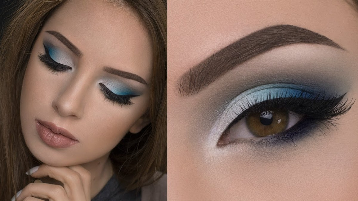 natural makeup look for blue eyes soft blue smokey eye