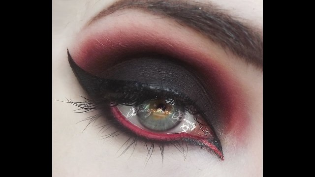 Red And Black Eye Makeup Black And Red Gothy Makeup Tutorial Youtube