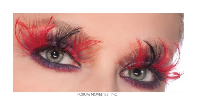 Red And Black Eye Makeup Red Black Feather Devil Eye Lashes Eyelashes Theatrical Makeup