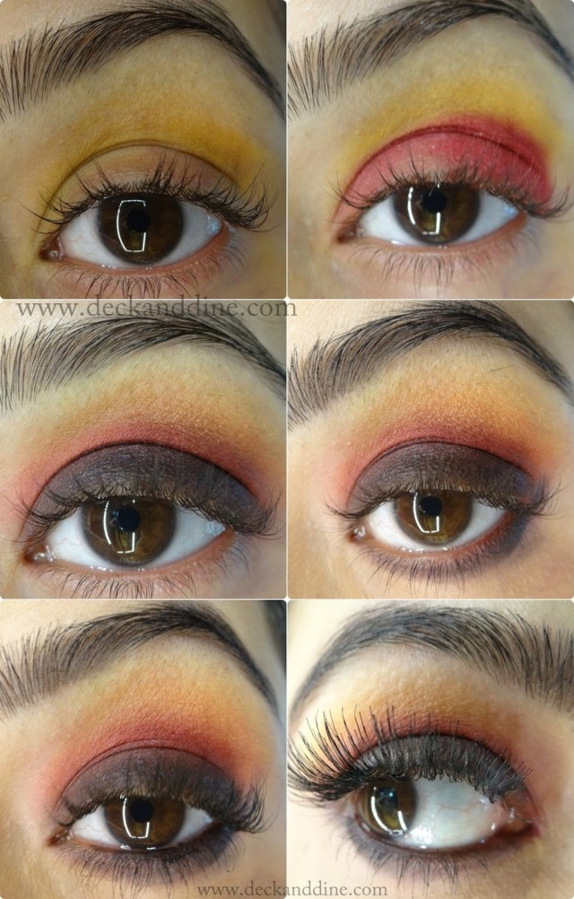 Red And Black Eye Makeup Step Step Tutorial Autumn Burnt Red Yellow Black Eye Makeup