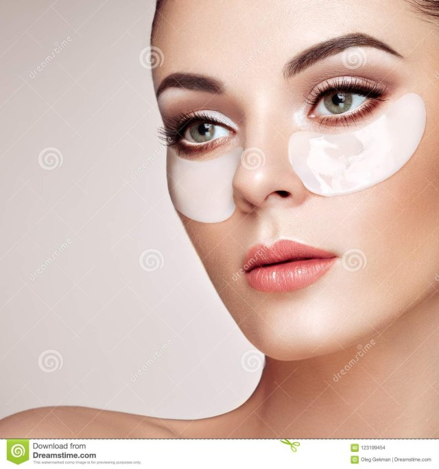 White Makeup Under Eyes Portrait Of Beauty Woman With Eye Patches Stock Photo Image Of