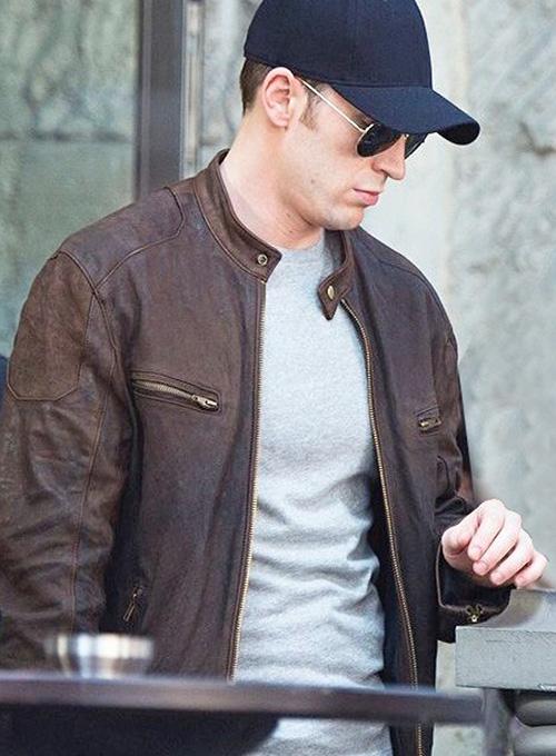 Captain America Civil War Chris Evans Leather Jacket  MakeYourOwnJeans Made To Measure Custom