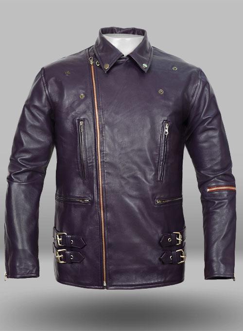 purple leather jacket 903