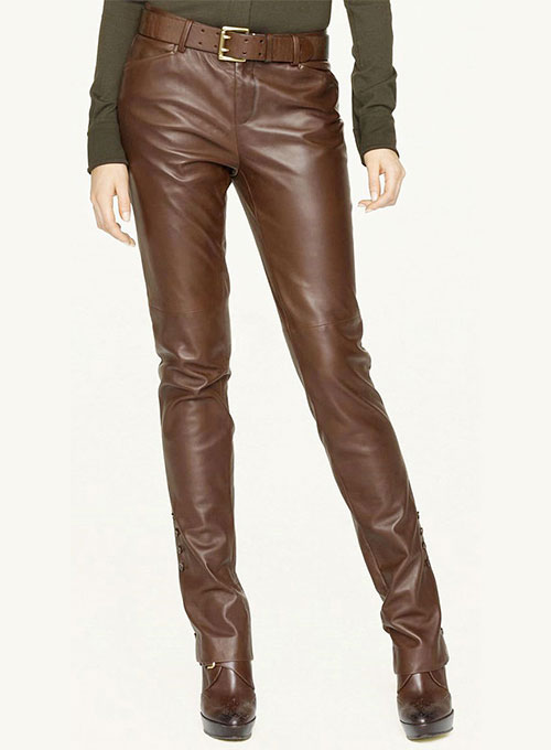Image result for image of brown leather pants