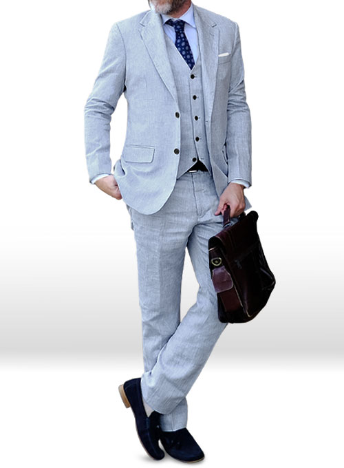 Italian Sky Blue Linen Suit  MakeYourOwnJeans Made To