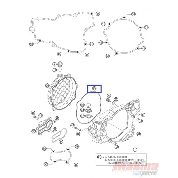 55130027000 Clutch Cover Outside Gasket KTM EXC-SX-250 2