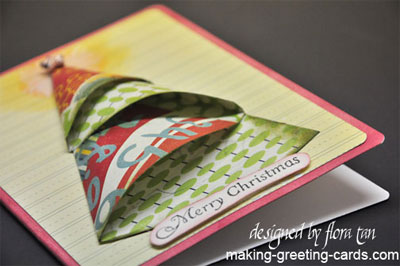 Bright Origami Christmas Tree Card Template And