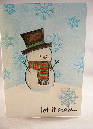Snowman Christmas Cards Snowflakes Let It Snow