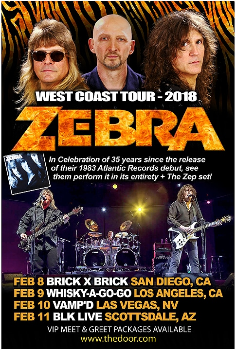 Legendary Rockers ZEBRA  Celebrate 35th Anniversary of Their Atlantic Records Debut With West Coast Tour