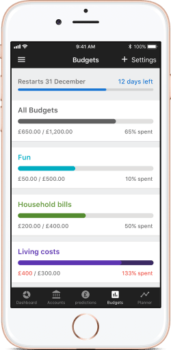 Use Money Dashboard Budget to plan expenses by category