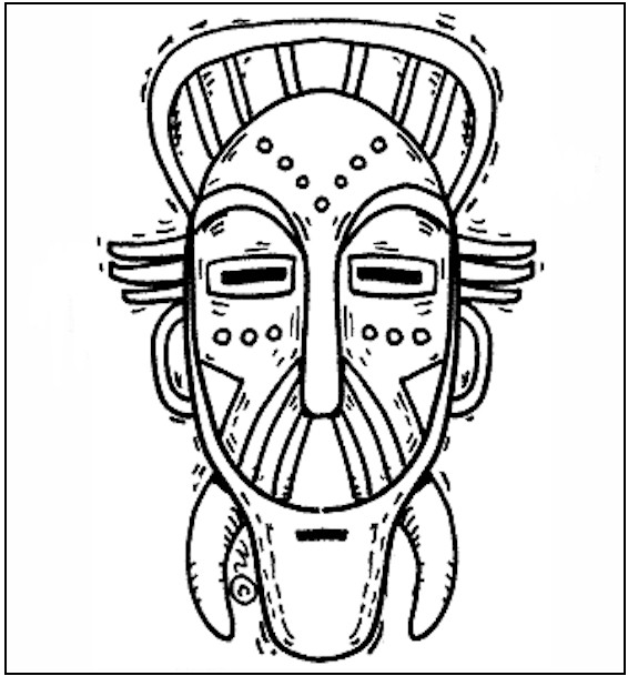 African Mask Coloring Page