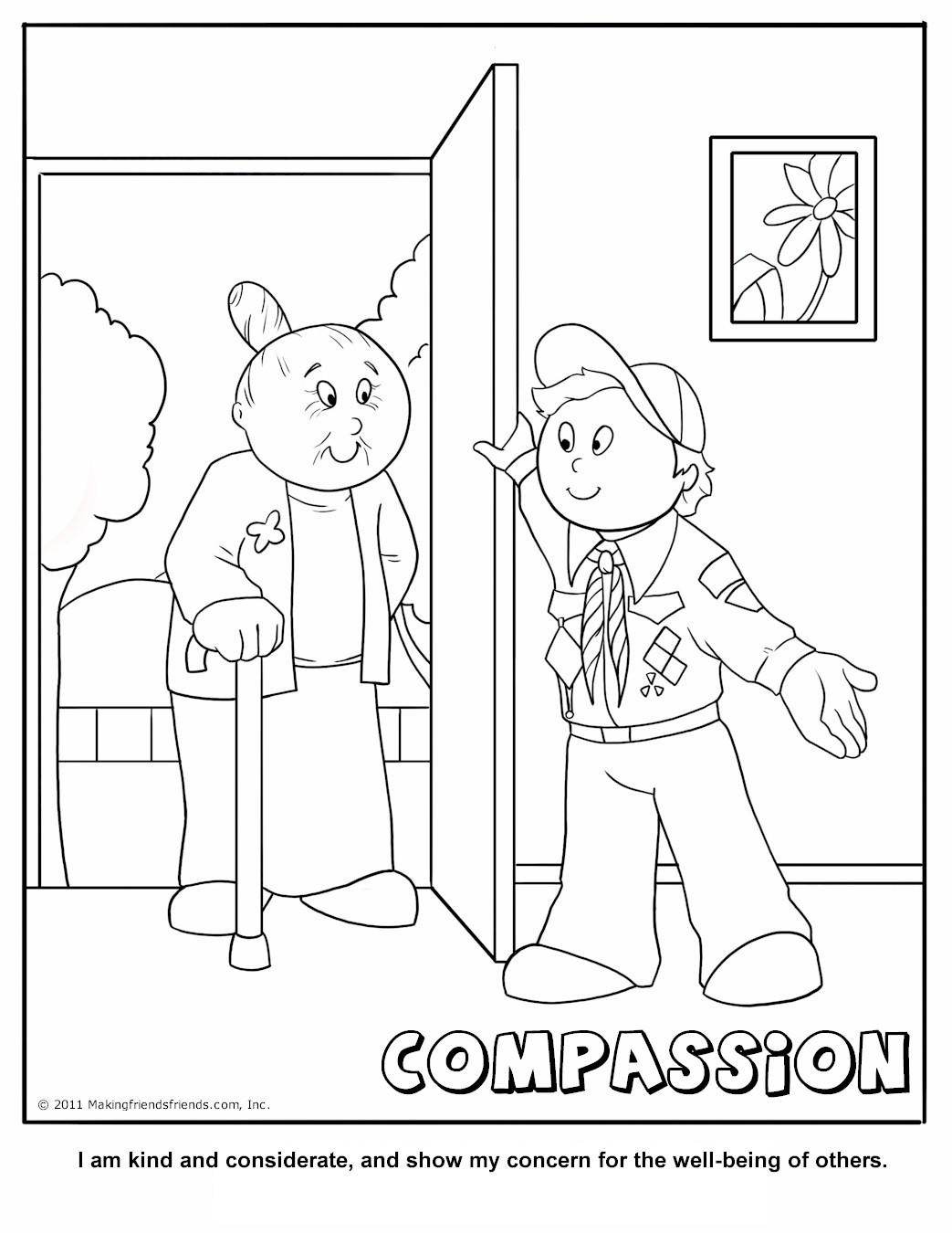 Cub Scout Compassion Coloring Page