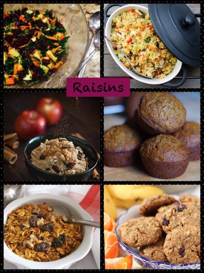 a collage of 6 pictures of recipes that highlight raisins
