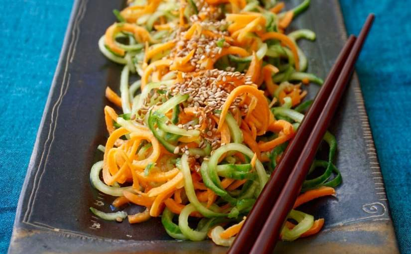 Cucumber Carrot Salad with Sesame Seeds