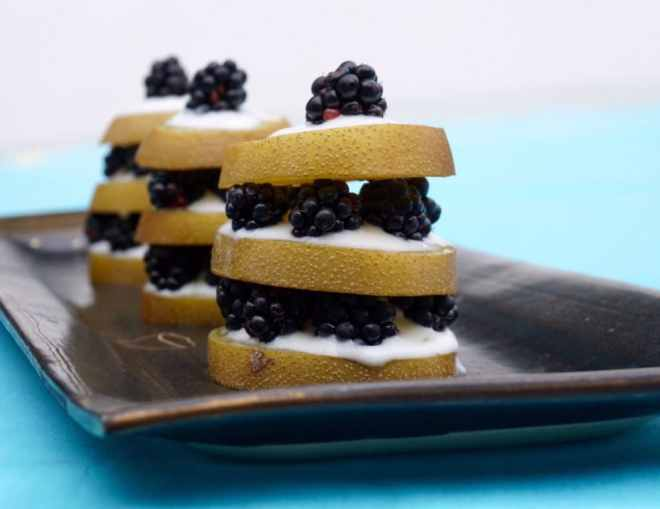 Kiwi Blackberry Stacks with Lime Honey Yogurt