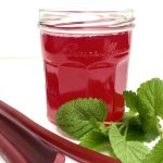 Rhubarb Lemon Balm Concentrate in a jar