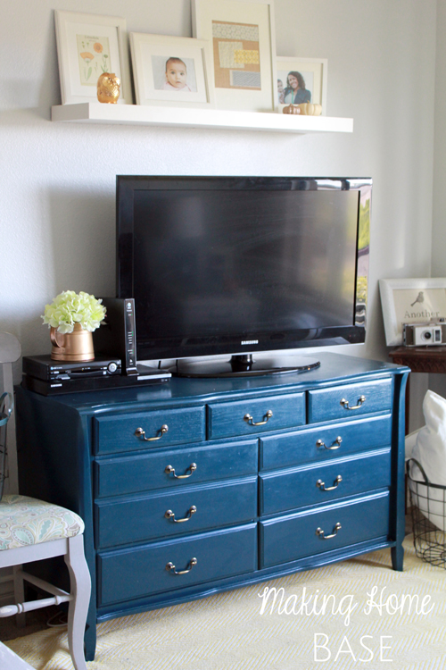 Navy Painted Media Stand Repurposed Dresser  Making Home Base